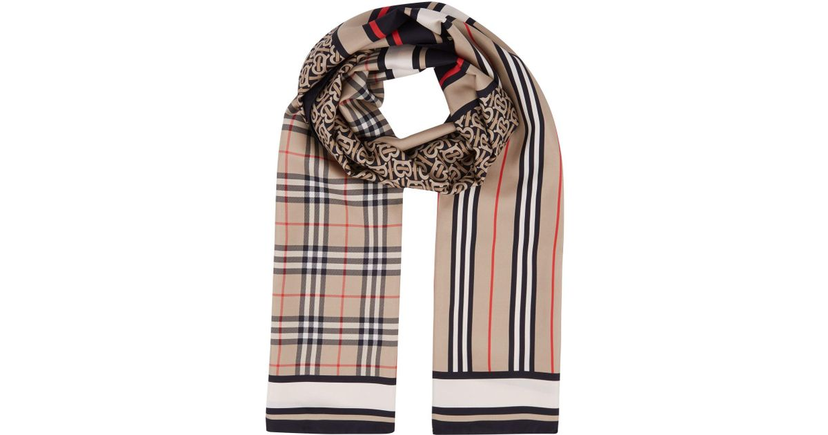 93ec7a35e913 Burberry Monogram Cashmere Scarf in Natural for Men - Lyst