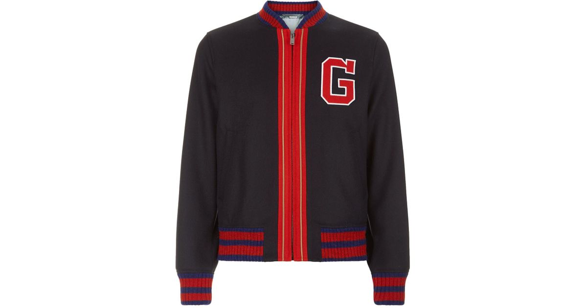20254dd6d Gucci Wool Varsity Jacket in Blue for Men - Lyst