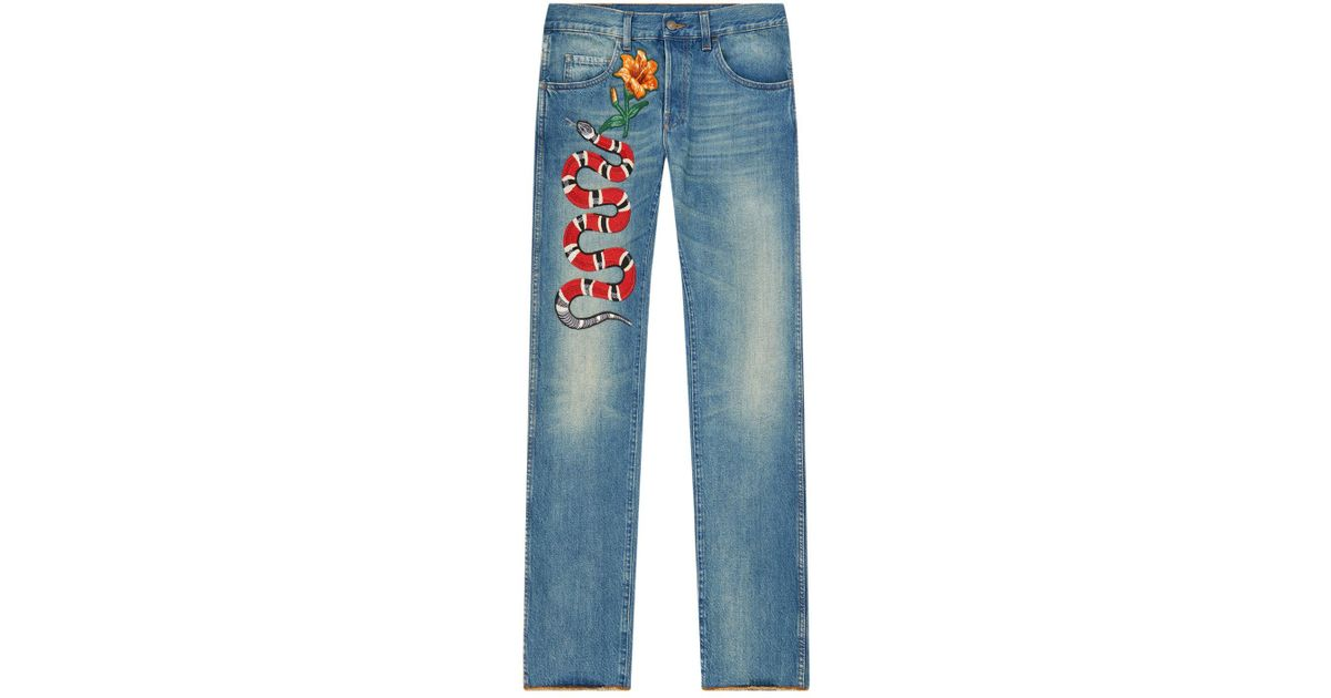 e47bb940c300f Gucci Snake Embroidered Jeans in Blue - Lyst