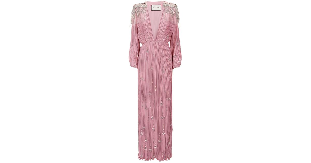 fbc2b6677 Gucci Embellished Gown in Pink - Lyst