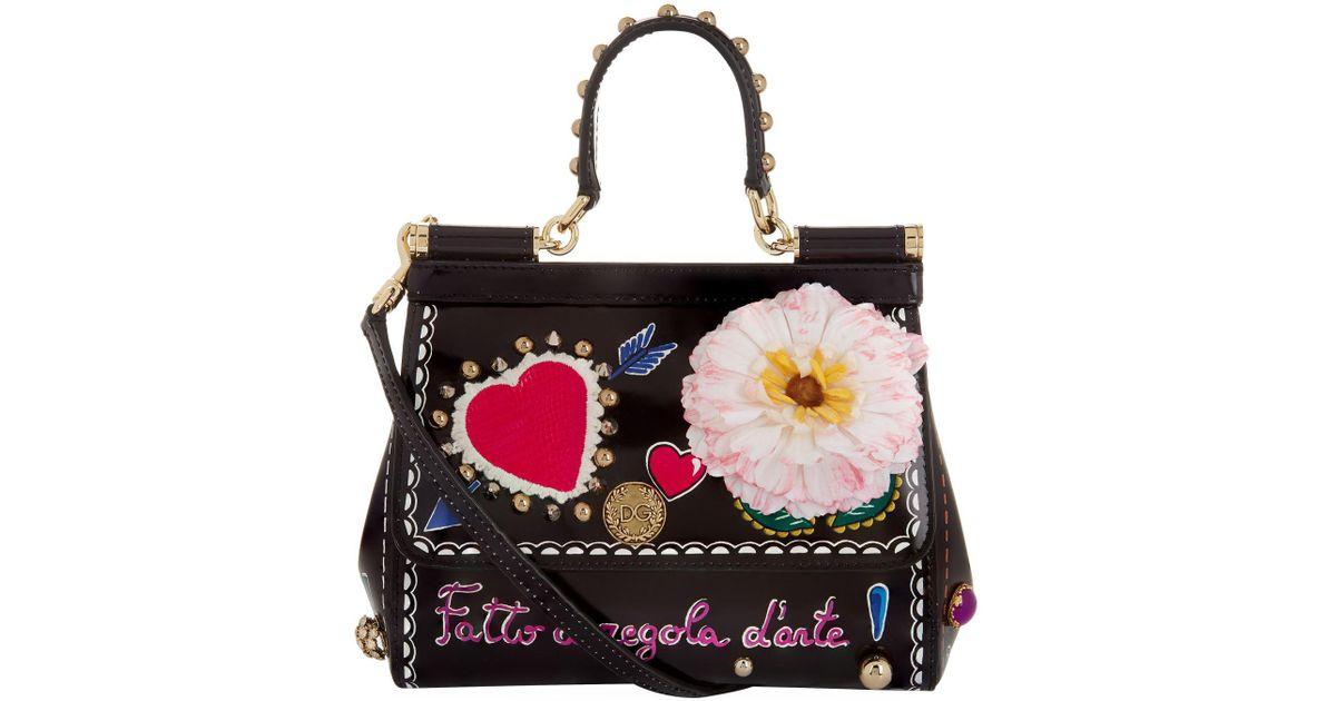 844596e774 Lyst - Dolce   Gabbana Small Leather Sicily Shoulder Bag