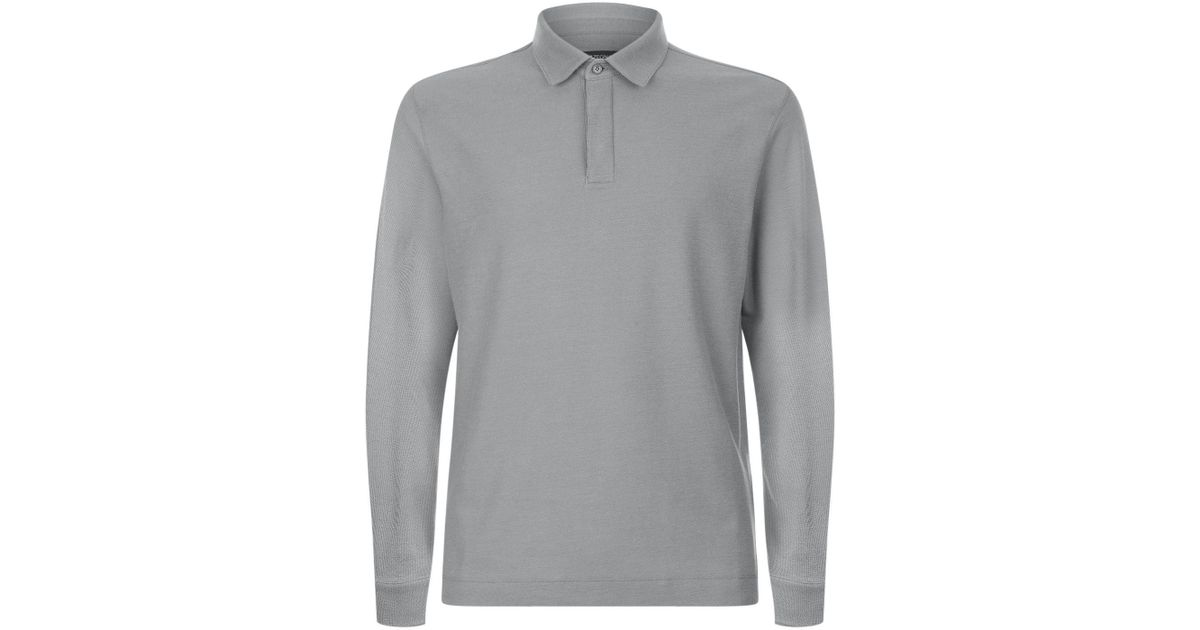 48d6ad8c Z Zegna - Gray Long Sleeve Polo Shirt for Men - Lyst