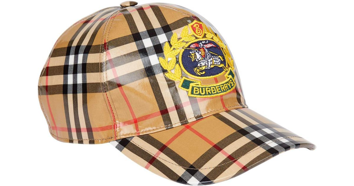 a06d70b1f507c Burberry Coated Vintage Check Baseball Cap in Yellow for Men - Lyst