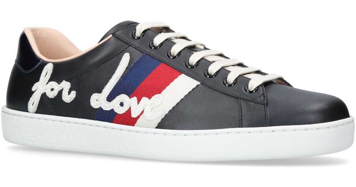1e15f0009ce Gucci New Ace Blind For Love Sneakers in Black for Men - Lyst