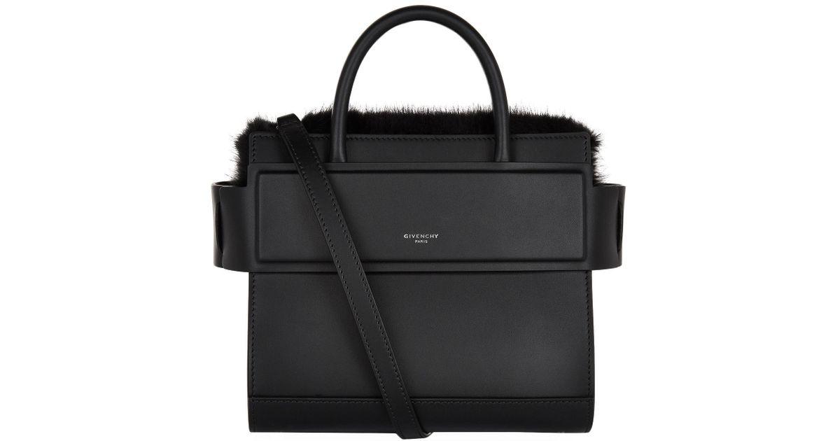 068fa2dfb0 Givenchy Mini Horizon Mink Trim Tote Bag in Black - Lyst