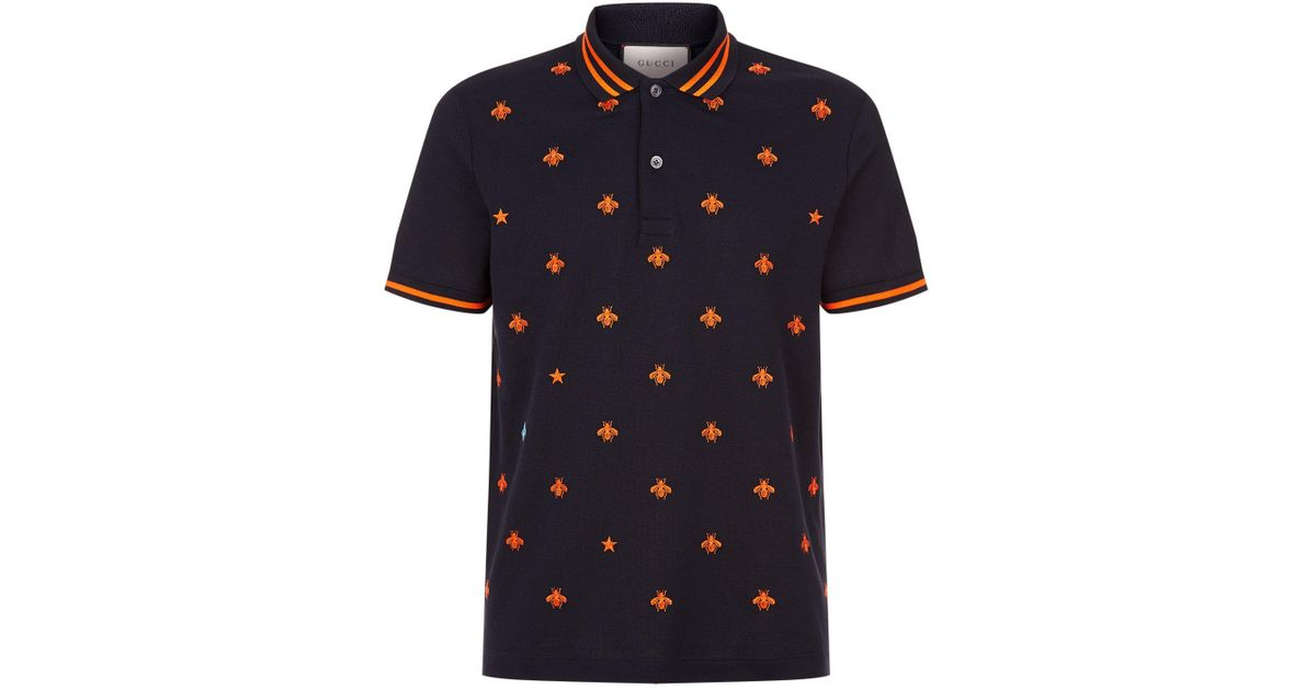 312ddebb6 Gucci Embroidered Bee Polo Shirt in Blue for Men - Lyst