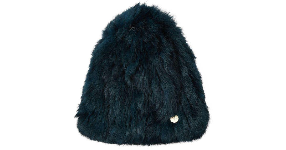 7f8bd54d28b Lyst - Yves Salomon Rabbit Fur Hat in Green