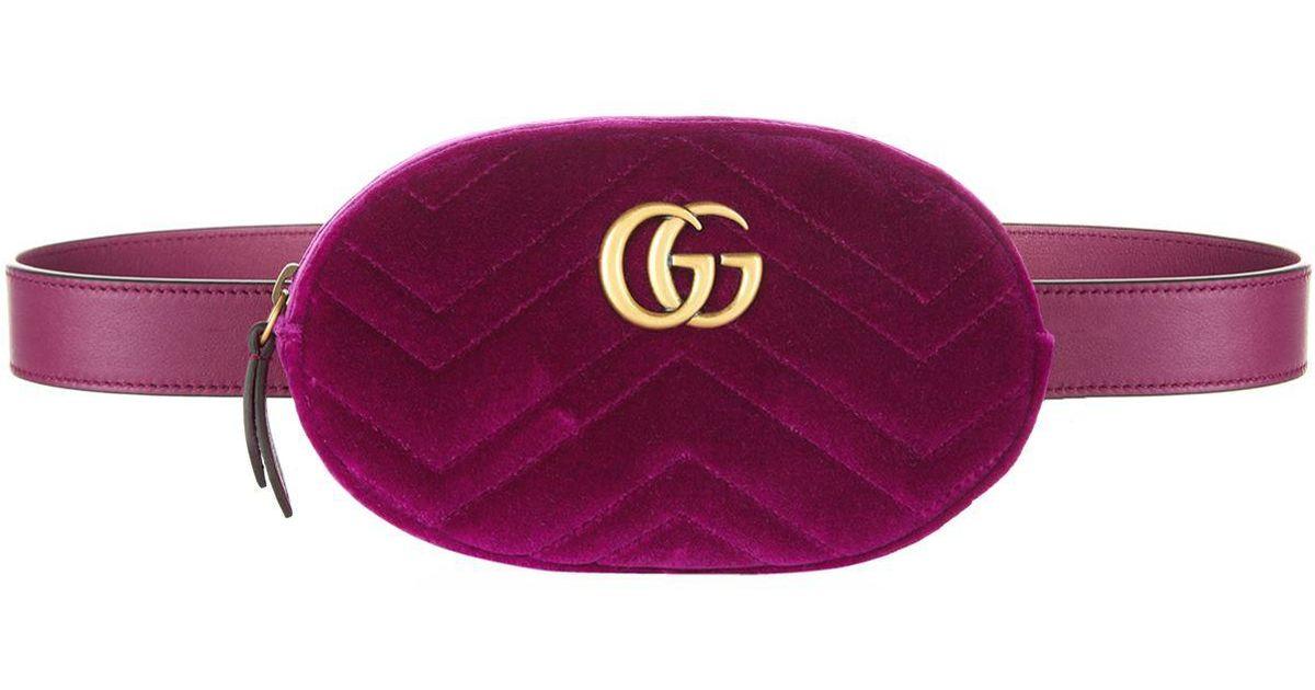 Lyst - Gucci Marmont Velvet Belt Bag in Pink