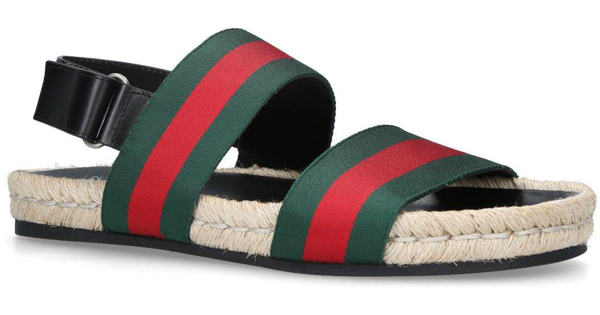 1348f14bf Gucci Web Stripe Juan Sandals in Red for Men - Lyst