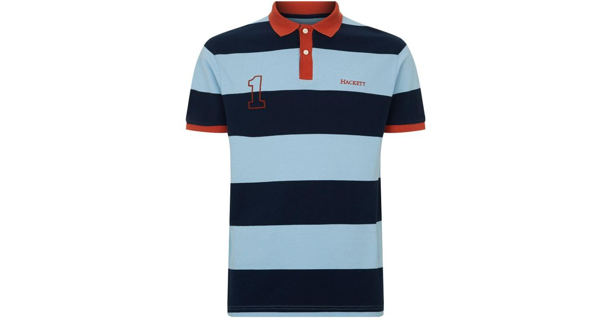 261af46a8 Hackett Block Stripe Polo Shirt in Blue for Men - Lyst
