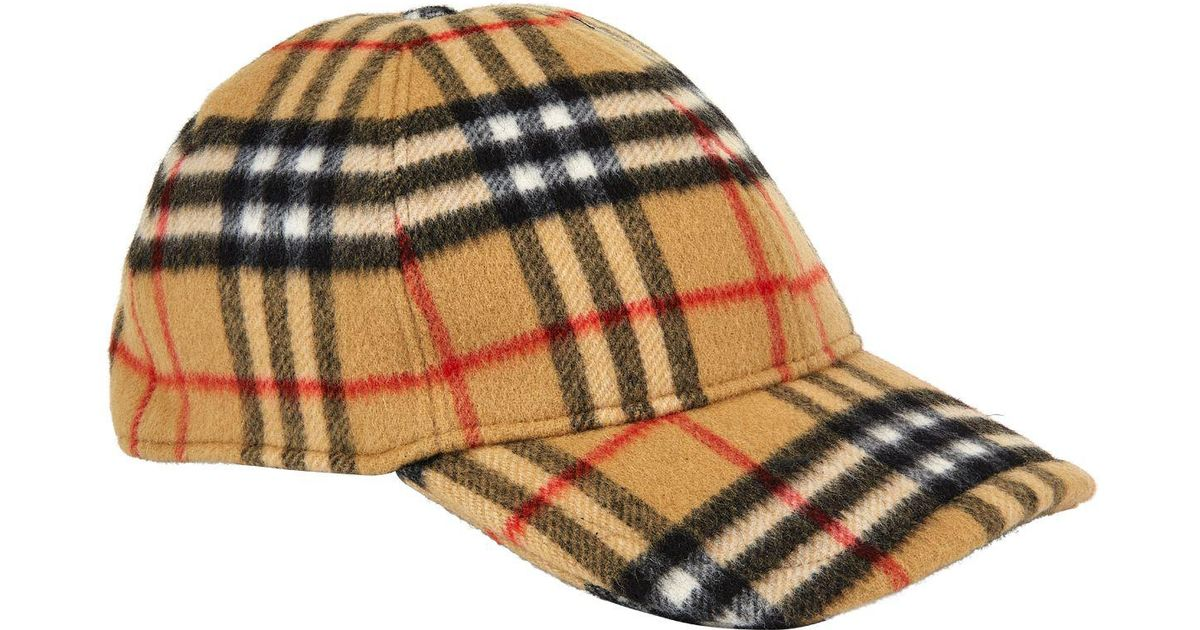 16b3ff73ac6 Burberry Vintage Check Wool Baseball Cap in Yellow for Men - Lyst