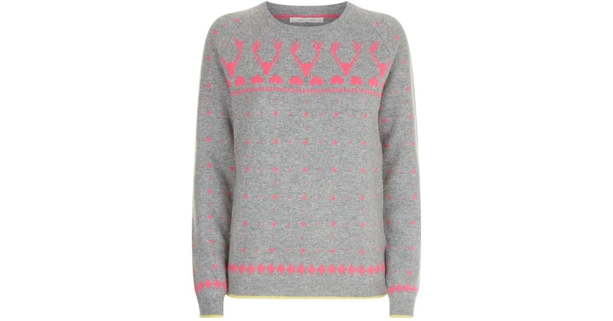 Lyst - Chinti & parker Reindeer Fair Isle Print Lurex Sweater in Gray