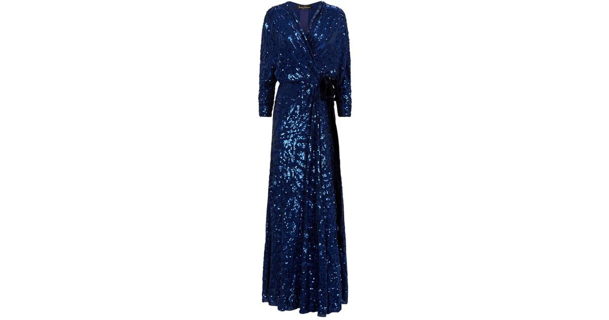 cac6217d Jenny Packham Lamour Sequin Wrap Gown in Blue - Lyst