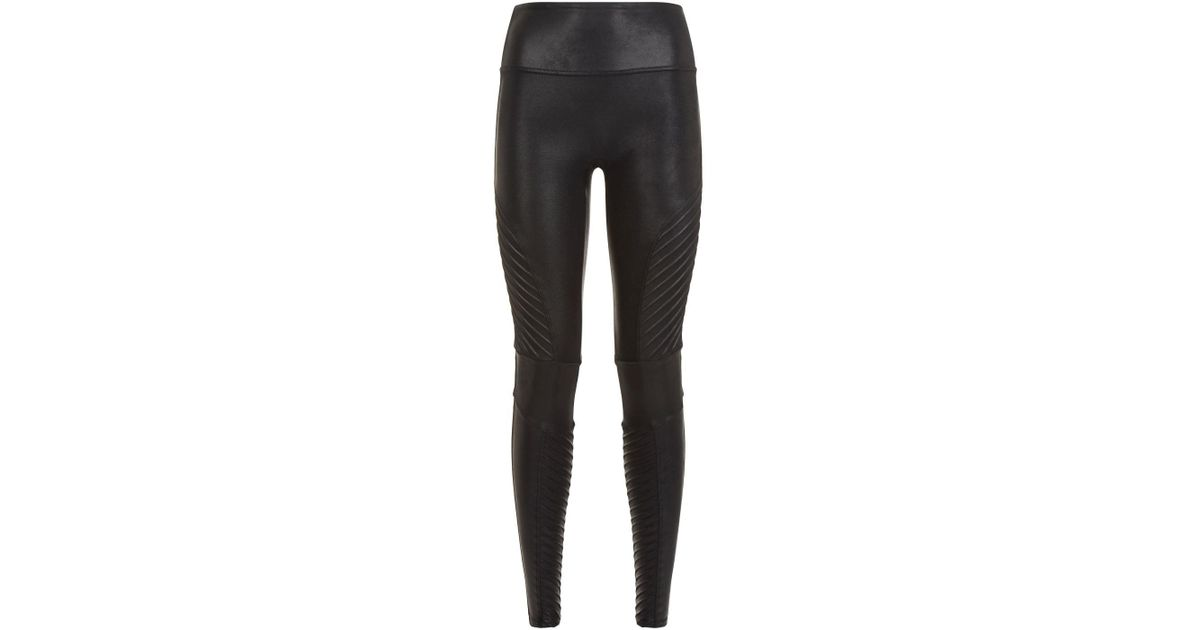 6a71d7feaa780b Lyst - Spanx Faux Leather Moto Leggings in Black