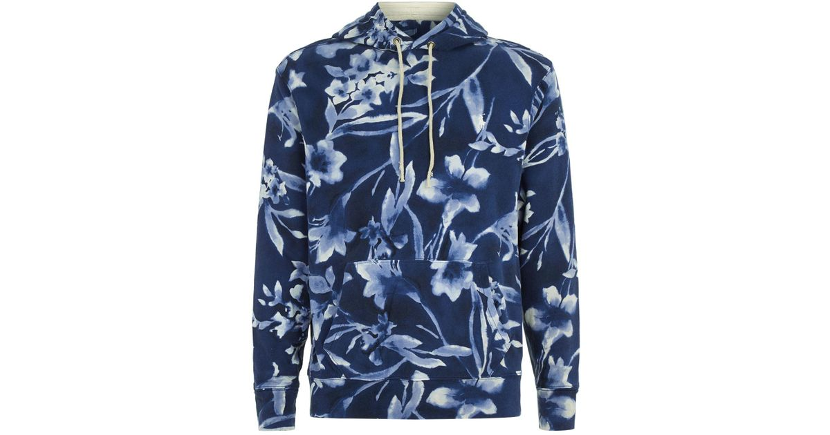 ad78516ce2c0d Lyst - Polo Ralph Lauren Floral Print Hoodie in Blue for Men