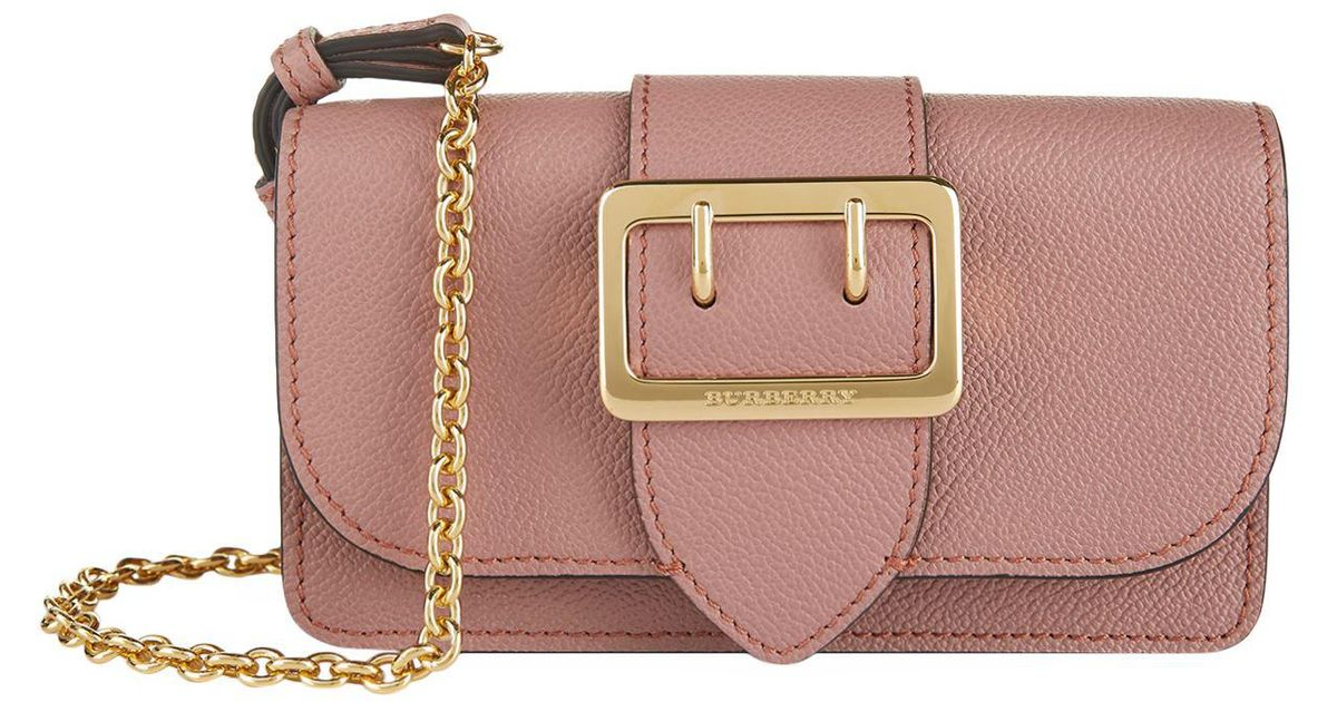 Lyst - Burberry Mini Buckle Bag With House Check in Pink e947cf3f5c