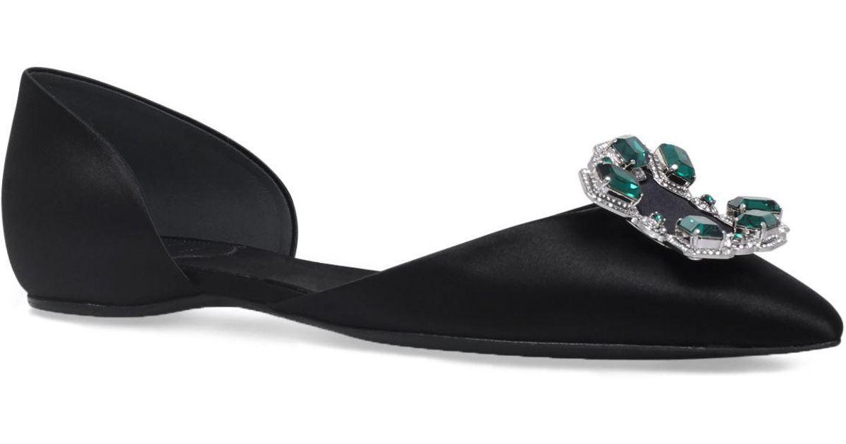 e56a6a7bab6df Lyst - Roger Vivier Jewelled Dorsay Ballerina Flats in Black