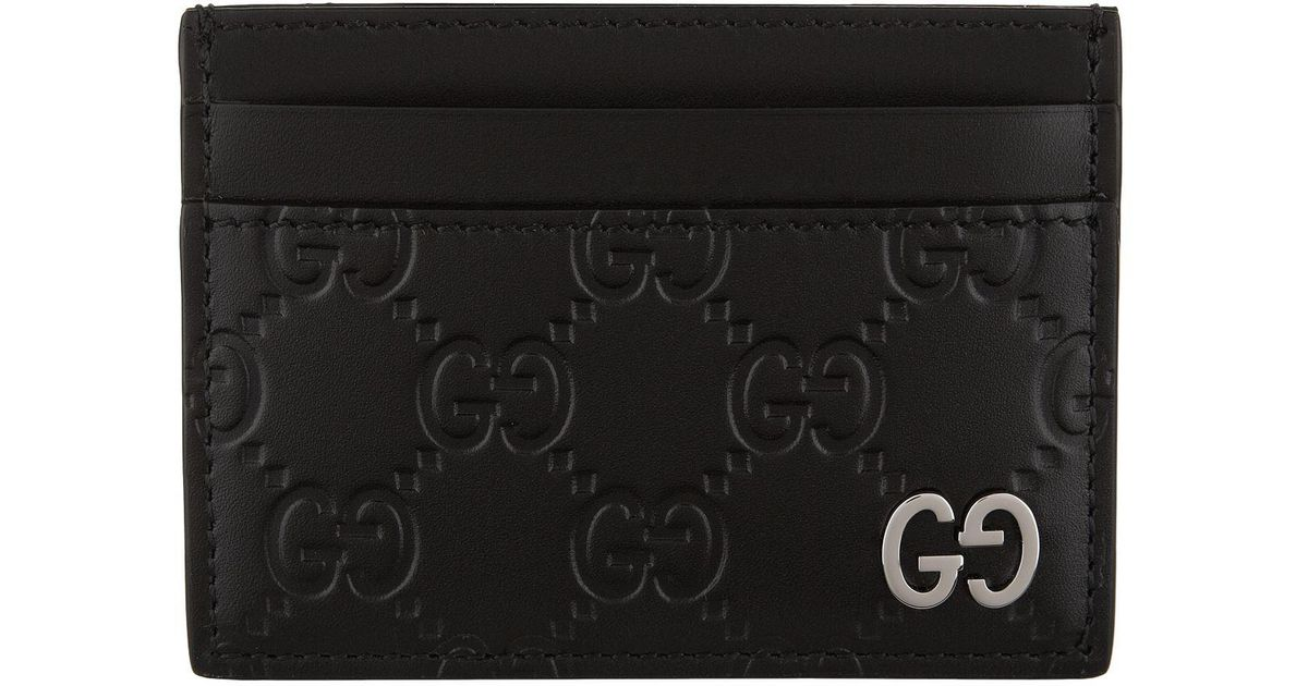 ed1c607fac26 Gucci Dorian Gg Embossed Leather Card Holder in Black for Men - Lyst