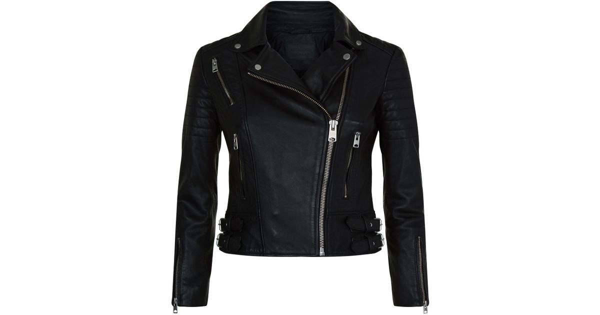 Allsaints Papin Leather Biker Jacket In Black Lyst