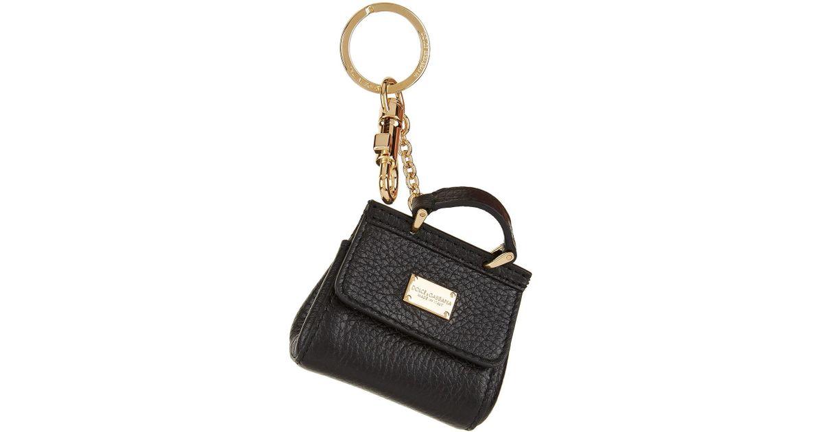 363dfd5a29 Lyst - Dolce   Gabbana Mini Sicily Handbag Keyring in Black