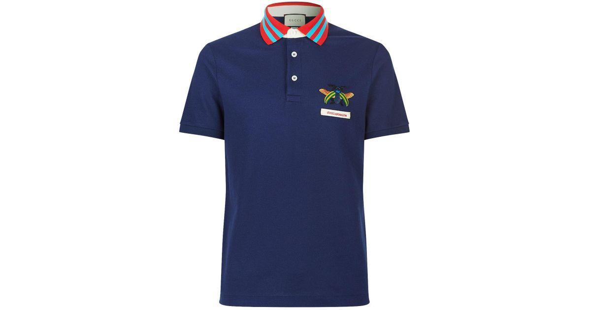1e4320db40c Lyst - Gucci Animalium Polo Shirt in Blue for Men