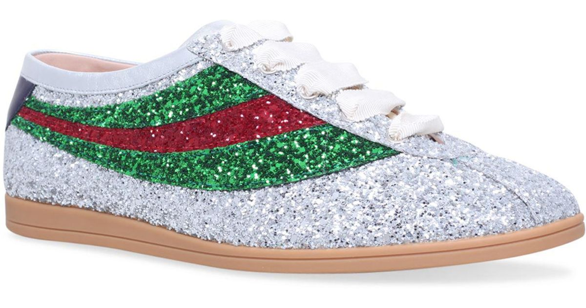 d8eab667a Gucci Falacer Glitter Sneakers, Silver, Uk 5 - Lyst