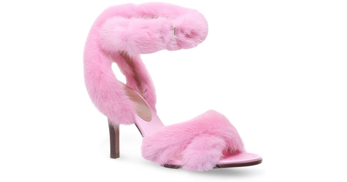 75a4af66054b Lyst - Valentino Fur Sandals 95 in Pink