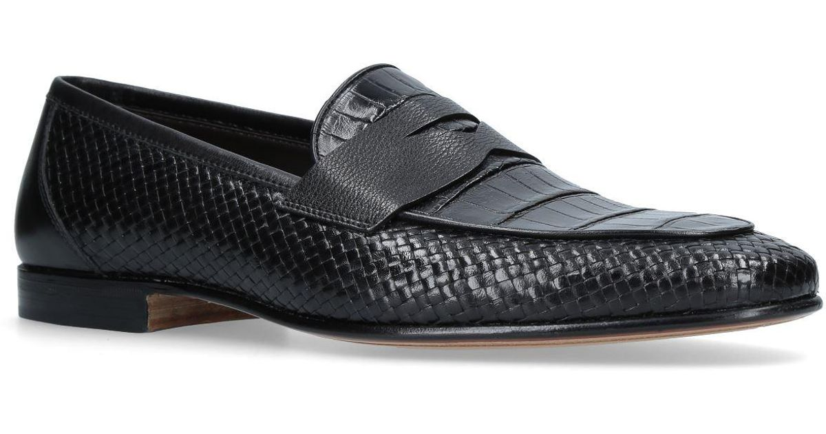 9fed7ac6e2f Lyst - Stemar Crocodile Interwoven Loafer in Black for Men