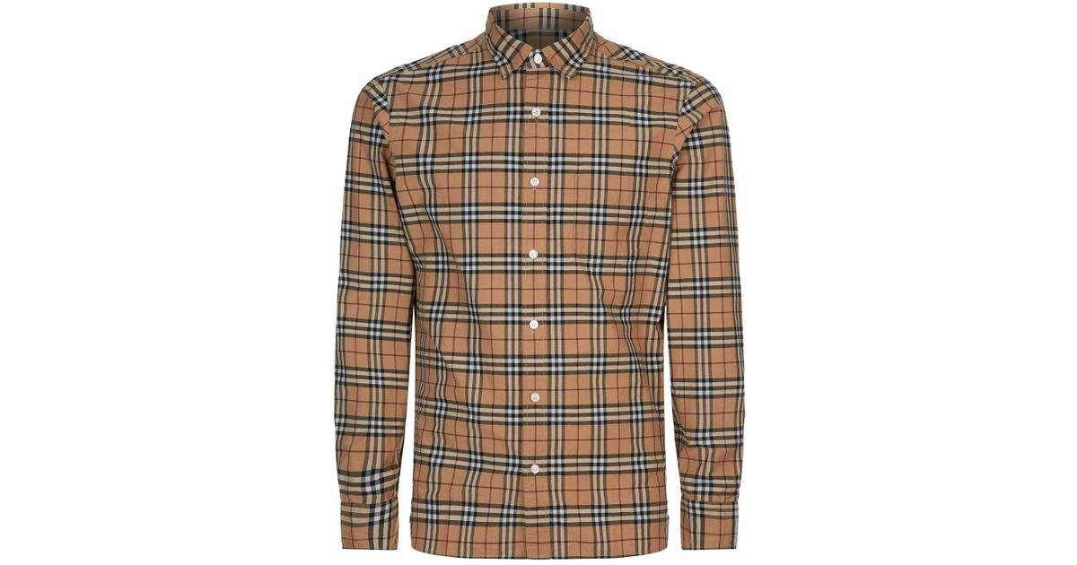 b0776112 Burberry Alexander Checked Shirt in Brown for Men - Lyst