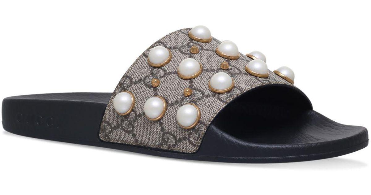 1bffe28c86d8 Lyst - Gucci Pearl Pursuit Slides