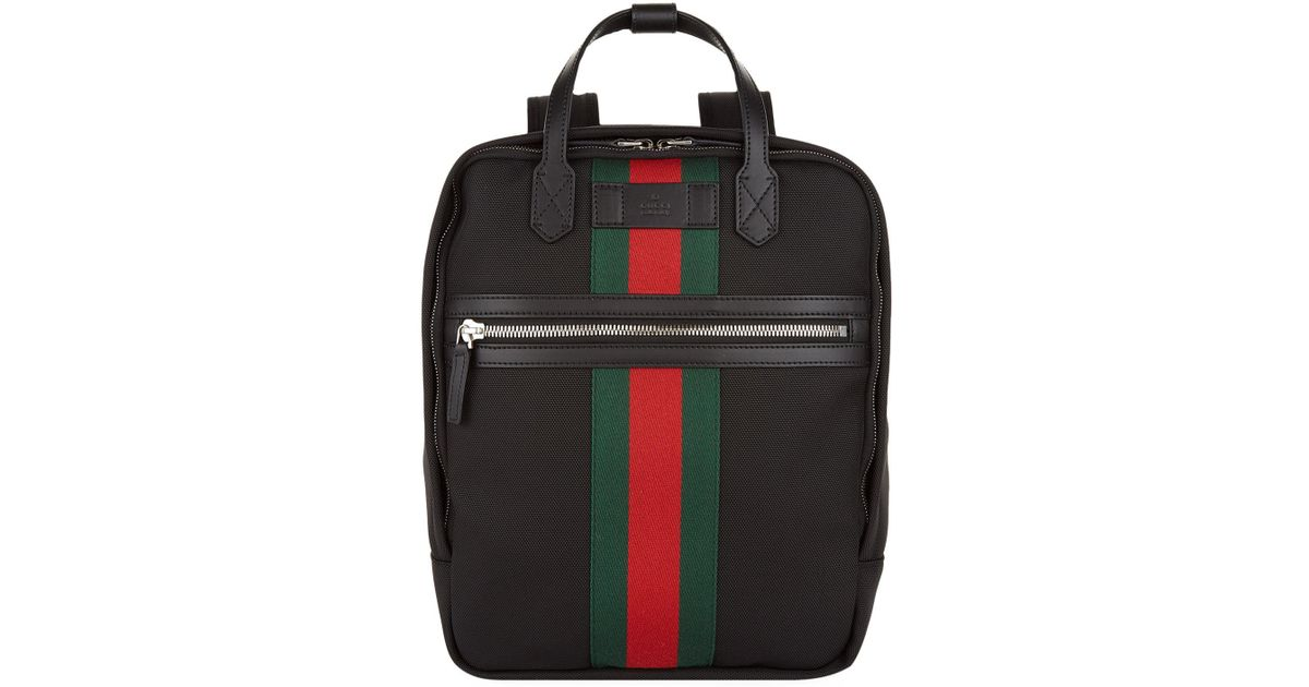 9c0ee9c4b7eb Gucci Web Stripe Canvas Backpack, Black, One Size in Black for Men - Lyst