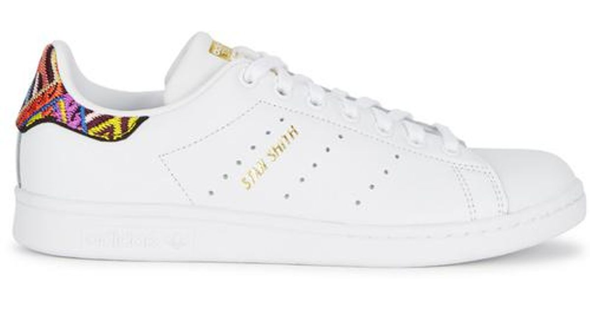 e3be1464cd901 Lyst - adidas Originals Stan Smith Embroidered Leather Trainers in White