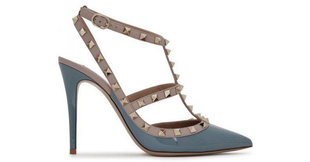 27f048a2ab1 Valentino Rockstud 100 Blue Leather Pumps in Blue - Lyst