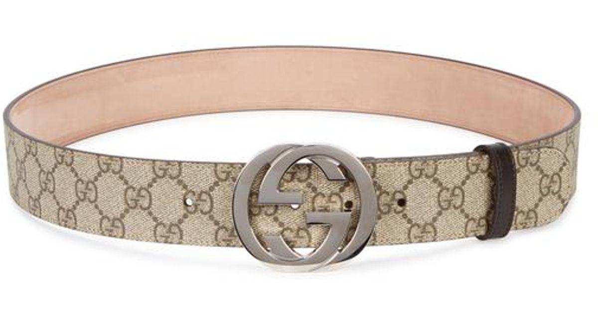 6d22e810c Lyst - Gucci Gg Supreme Monogrammed Belt in Natural