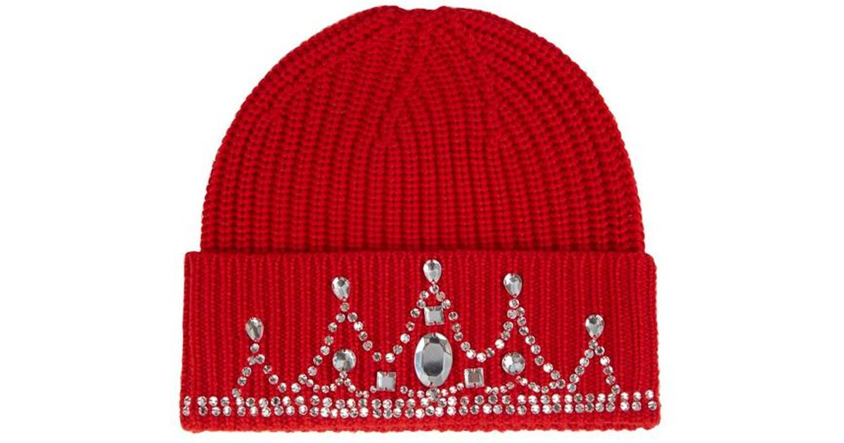 Markus Lupfer Red Crystal Embellished Merino Wool Hat in Red - Lyst c05f671639ea