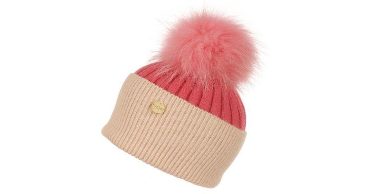 701bdc67903 Popski London Angora Pom Pom Hat in Pink - Lyst