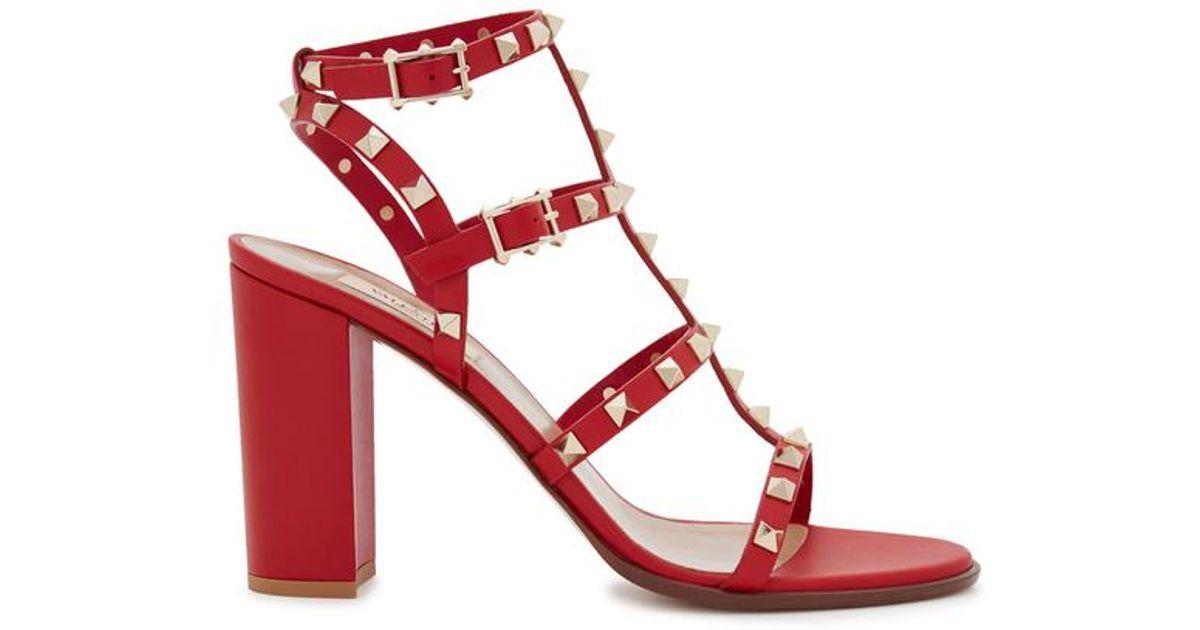 Rockstud 90 Valentino Leather Red Sandals UpSqMzVG