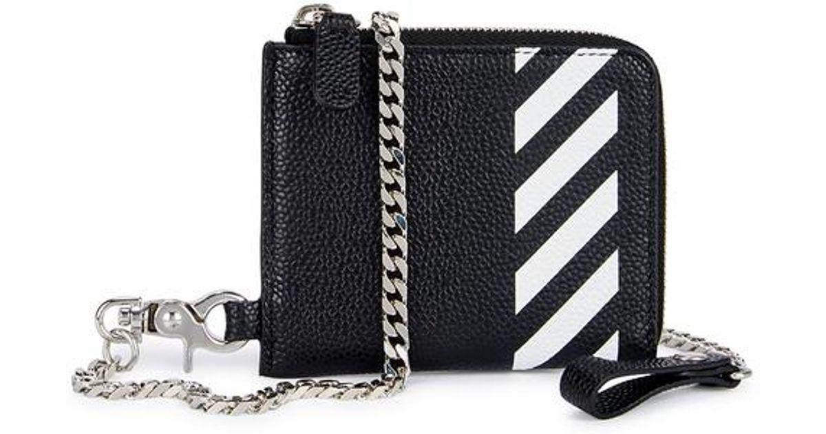 5f465632257 Off-White c/o Virgil Abloh Diag Black Leather Wallet-on-chain in Black for  Men - Lyst
