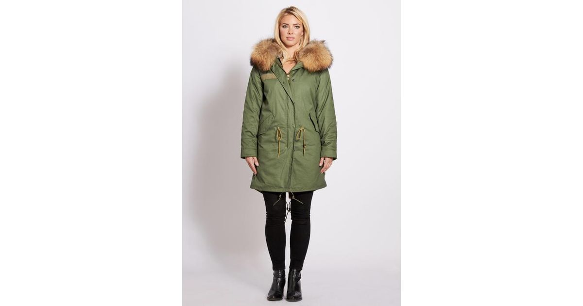 ee4c270930cb Popski London 3 4 Length Parka With Raccoon Fur Collar Natural in Green -  Lyst