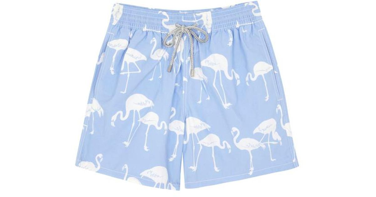 6f0ba42792 Vilebrequin Light Blue Flamingo Print Swim Shorts in Blue for Men - Lyst