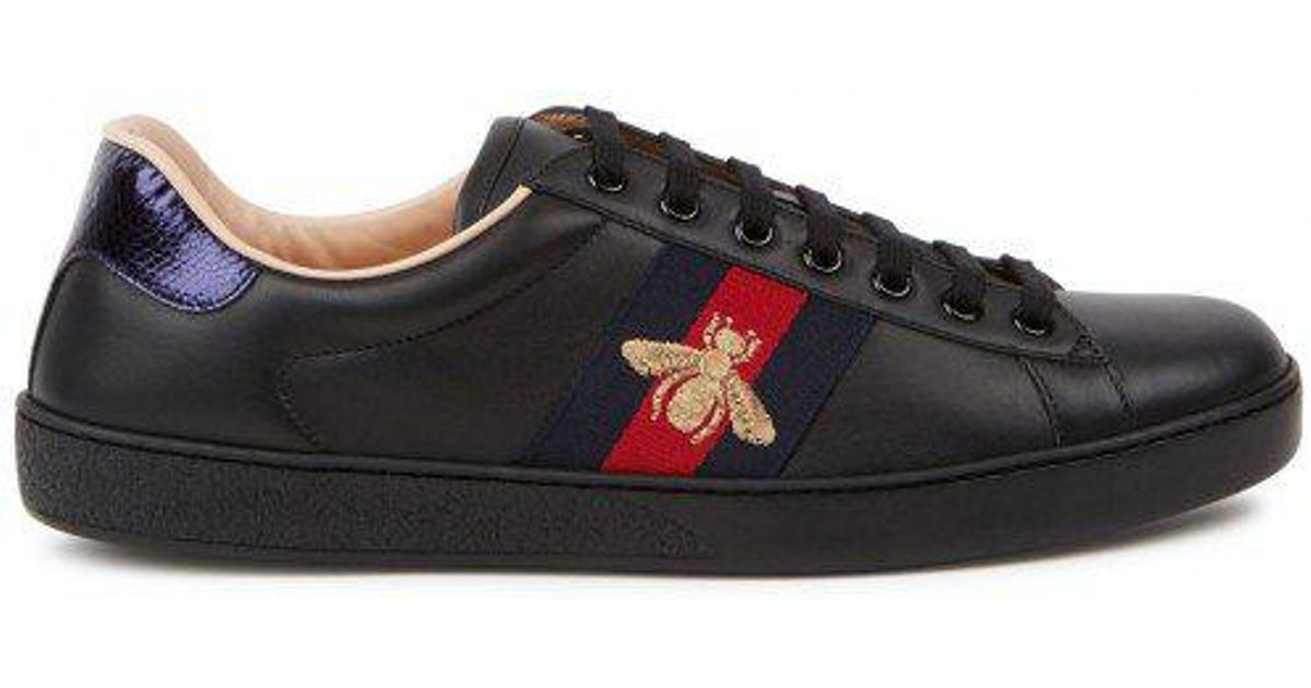 8b9b6ec8caa Gucci New Ace Black Ayers-trimmed Leather Trainers in Black for Men - Save  4% - Lyst