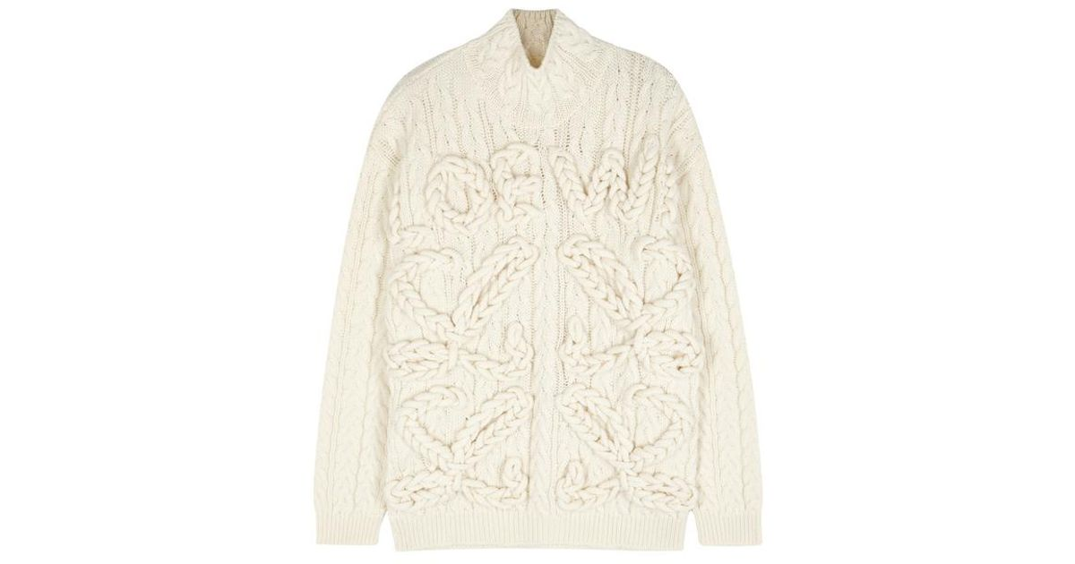 16e08d91b5 Loewe Cream Oversized Cable-knit Wool Jumper in Natural - Lyst