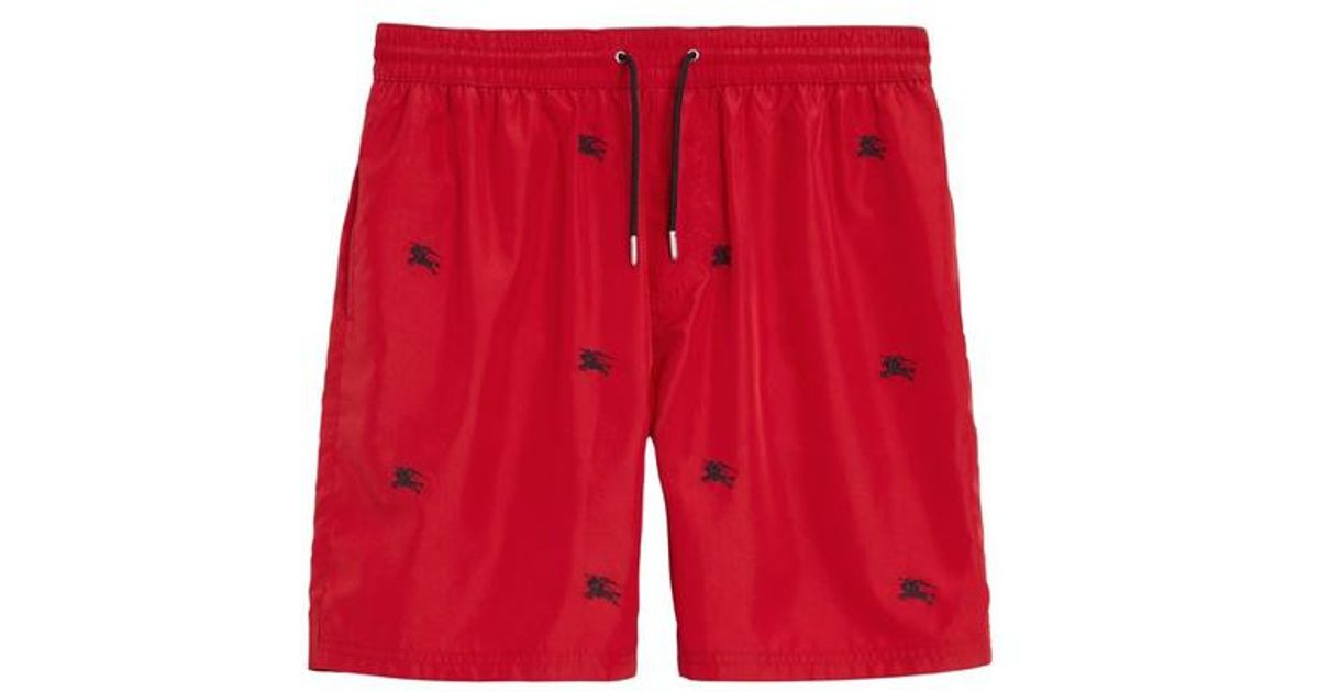 cc0325f4d9 Burberry Archive Logo Drawcord Swim Shorts in Red for Men - Lyst