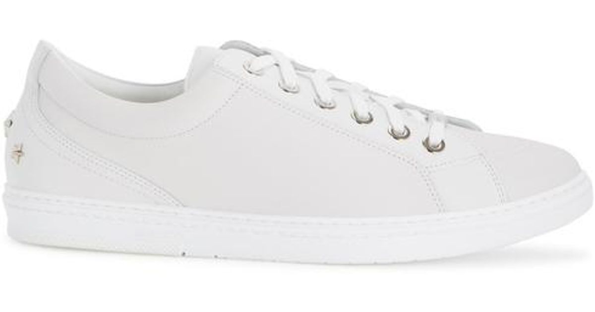 Jimmy Choo White Leather Cash Sneakers JRnc6la