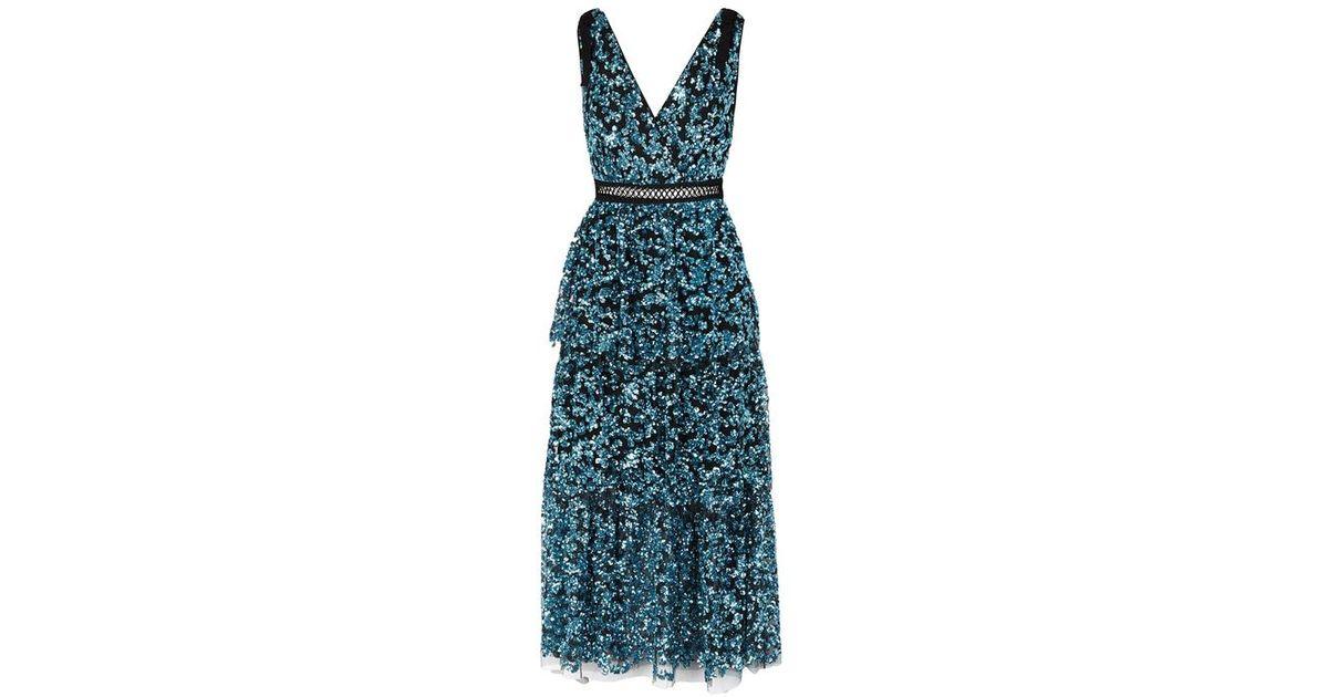 db35073659cf Self-Portrait Blue Tiered Sequinned Midi Dress in Blue - Lyst