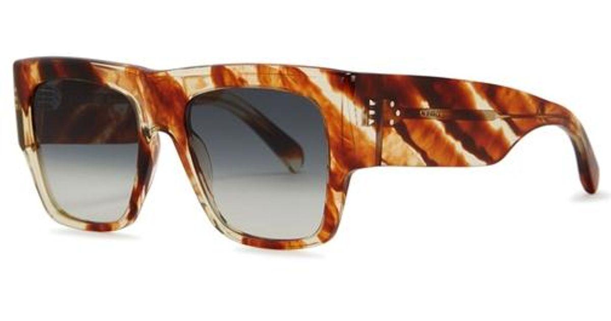 99ae4ac69c Céline Tortoiseshell Wayfarer-style Sunglasses in Green - Lyst