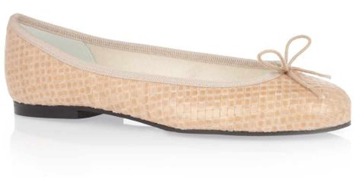 525b0a80fdbf French Sole Henrietta Nude Woven Leather Ballet Flats in Natural - Lyst