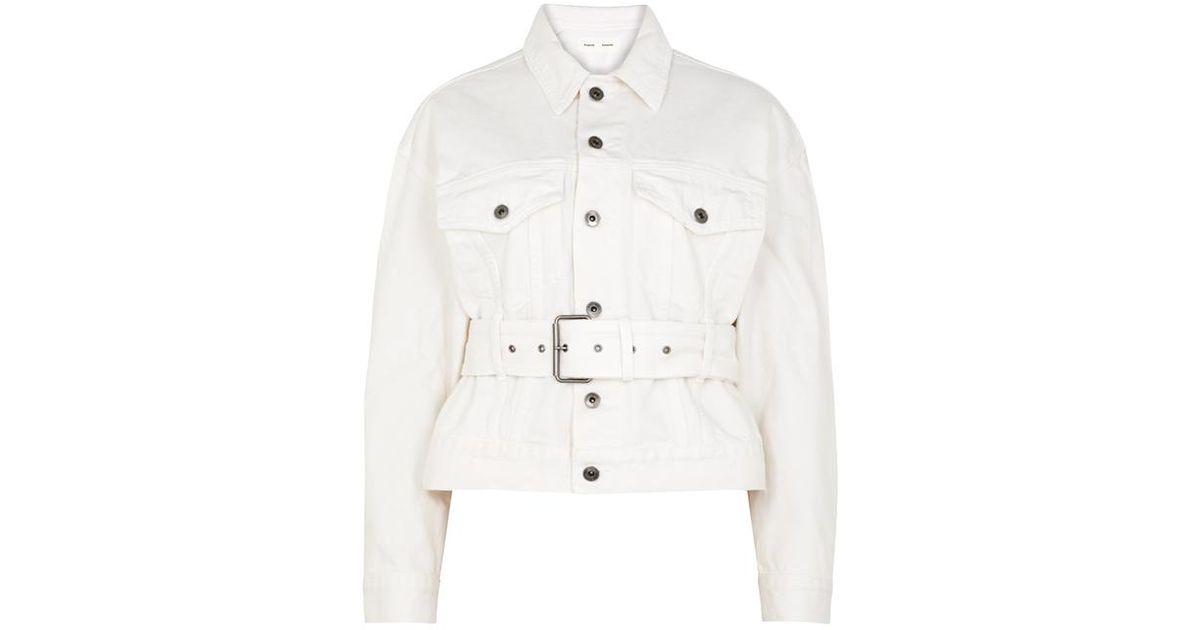 1e9ea72bd6316b Proenza Schouler Cream Distressed Denim Jacket in White - Lyst