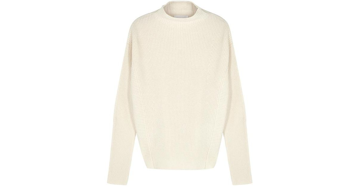 5831c3bc874777 BOSS Cream Ribbed Cashmere Jumper in Natural - Lyst