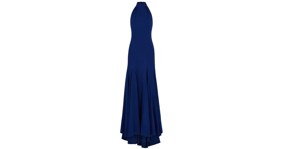 6cce4c42f Stella McCartney Meghan Navy Halterneck Gown in Blue - Lyst